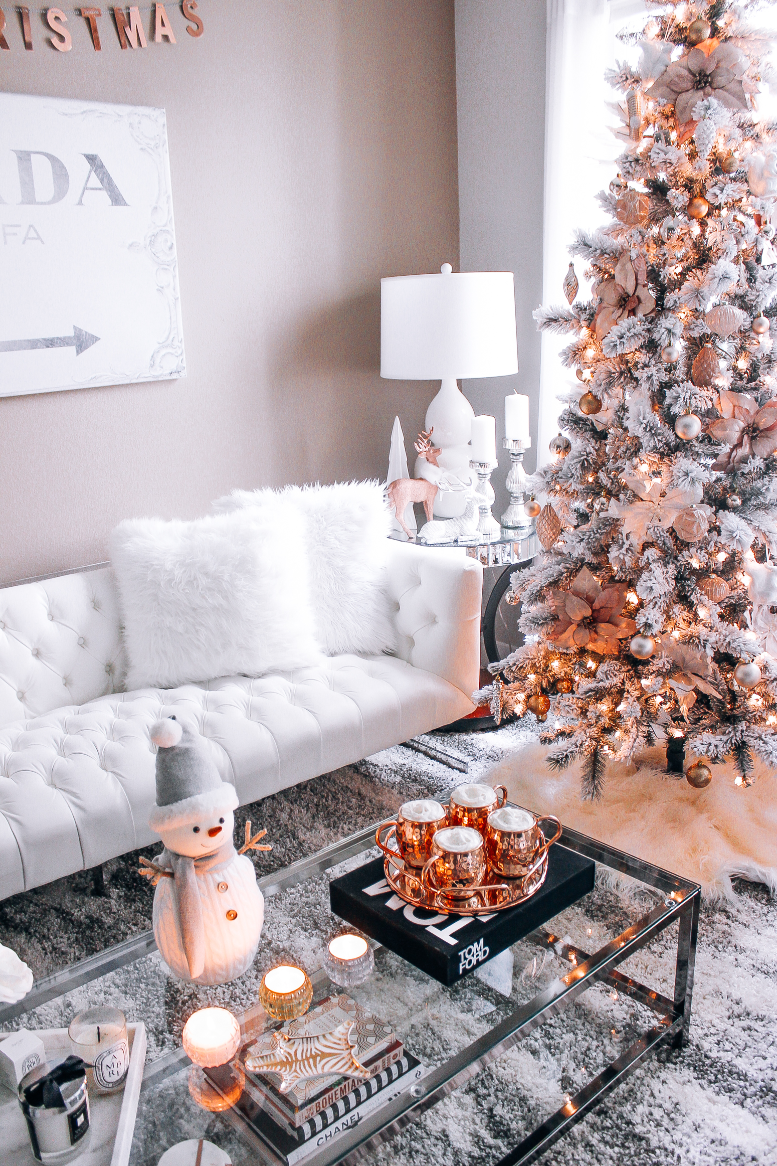 Blush pink rose gold white christmas decor for Home decor 90027