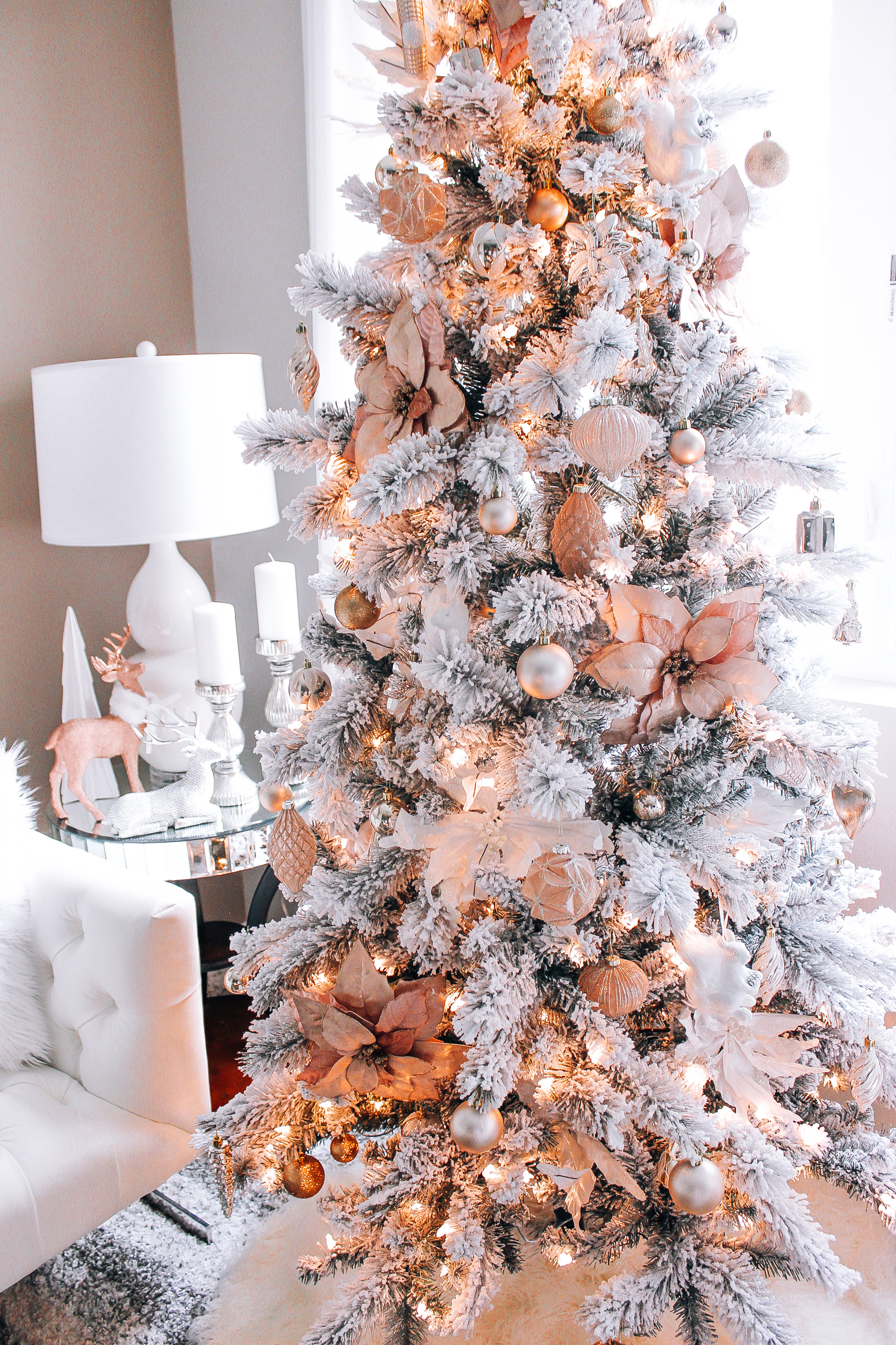 Blush Pink Rose Gold & White Christmas Decor