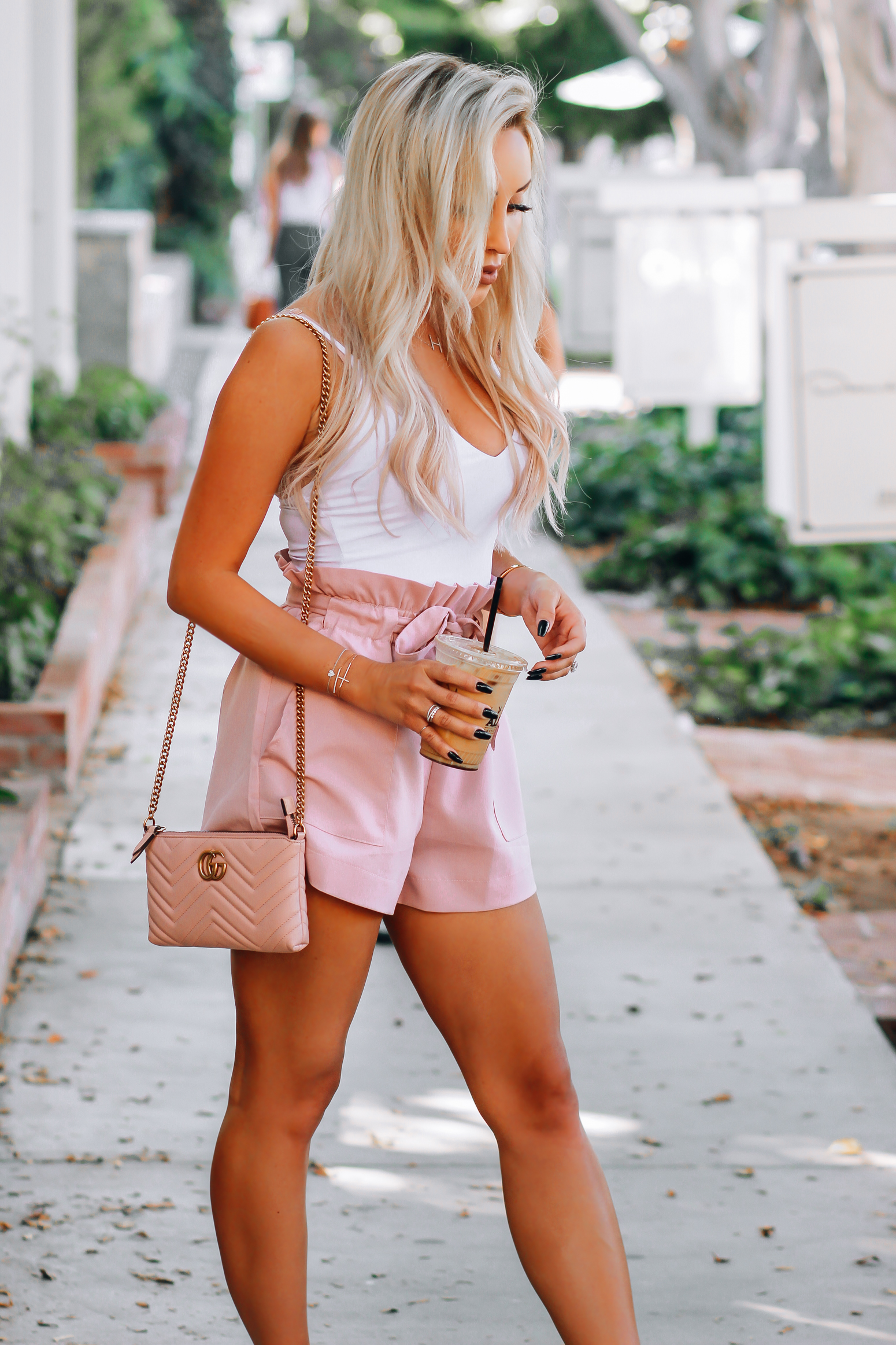 Blondie in the City   Pink & White Outfit   High waisted Pink Shorts   Pink Gucci
