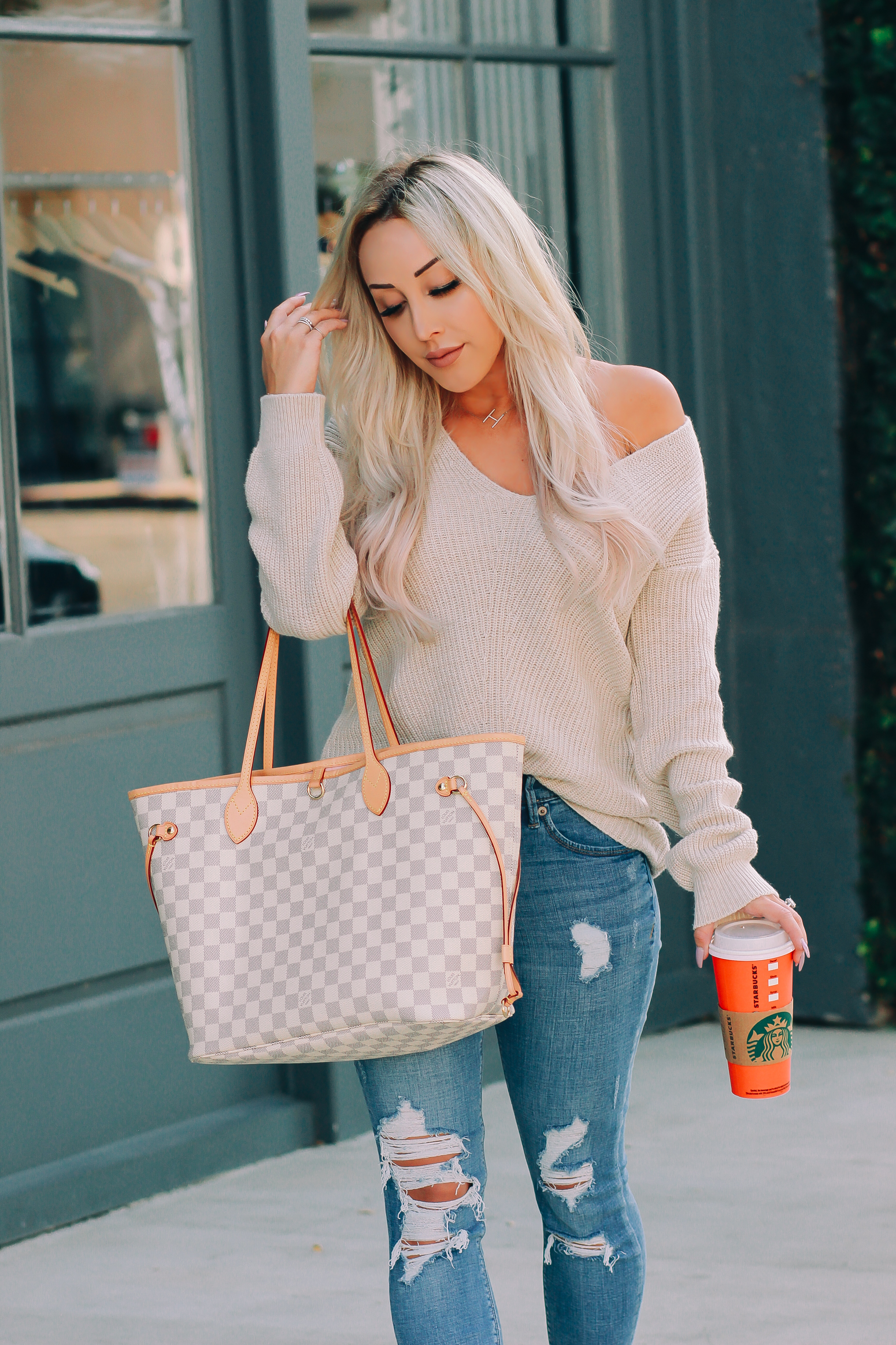 Blondie in the City | Favorite Nordstrom Sweater | Louis Vuitton Neverfull MM | Nude Louboutins