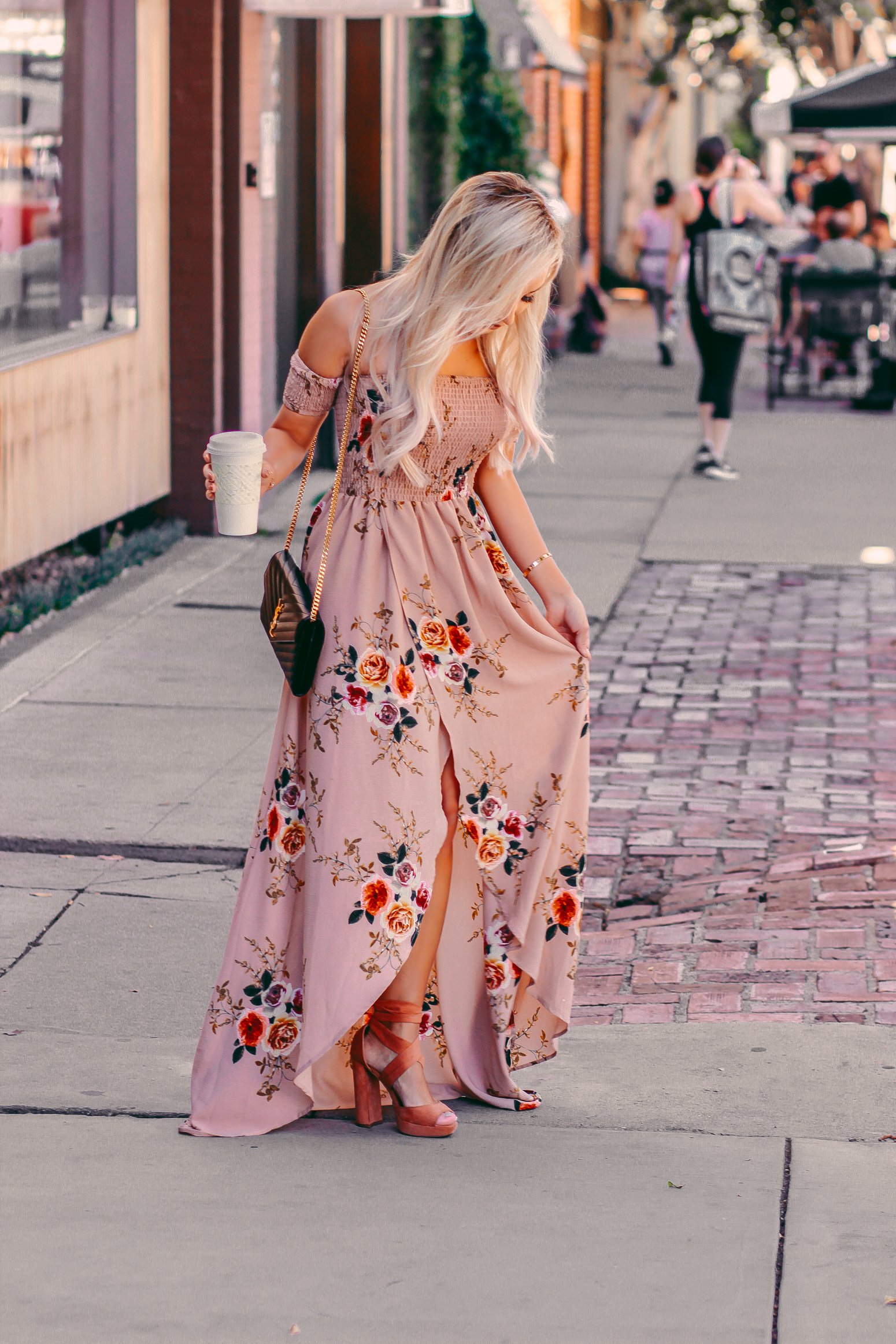 Blondie in the City | Fall in LA | Blush Floral Dress | YSL Bag