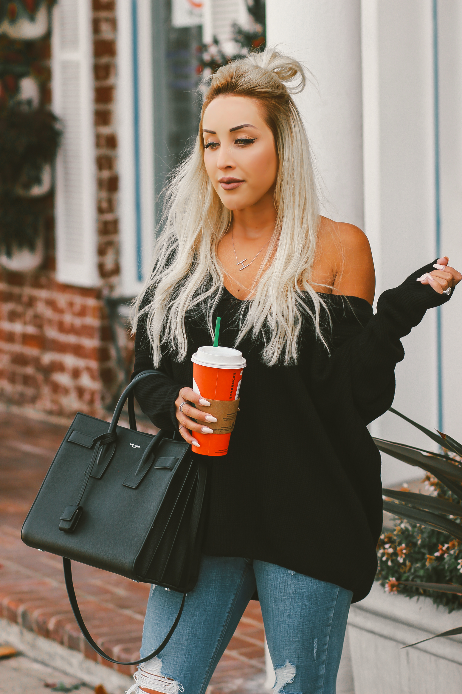Blondie in the City | Loose Black Knit Sweater | Givenchy Slides | YSL Bag | Fall Outfit Inspo