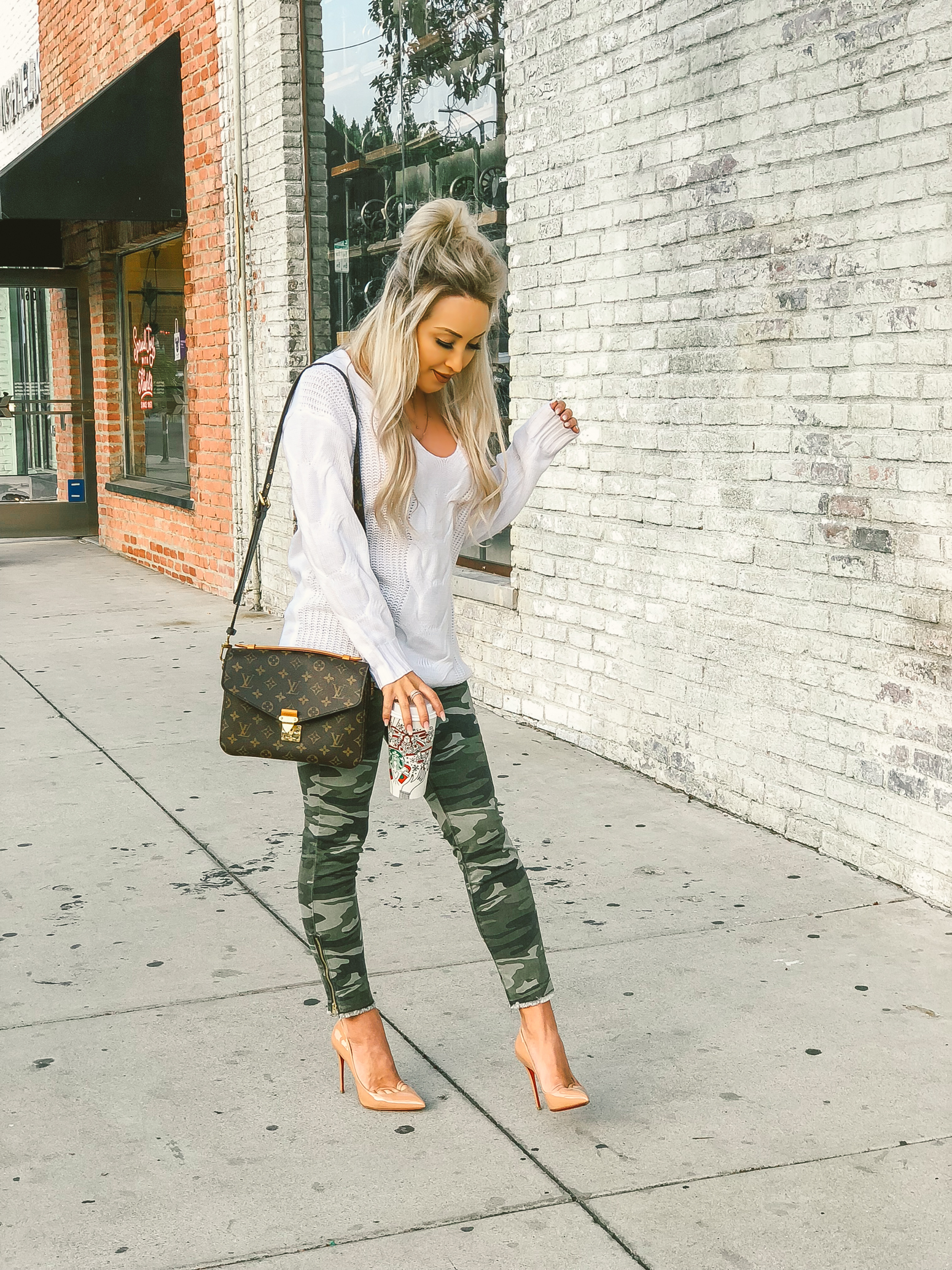 Blondie in the City | Camouflage Jeans, White Sweater | Nude Louboutins, Louis Vuitton Bag | Fall Fashion