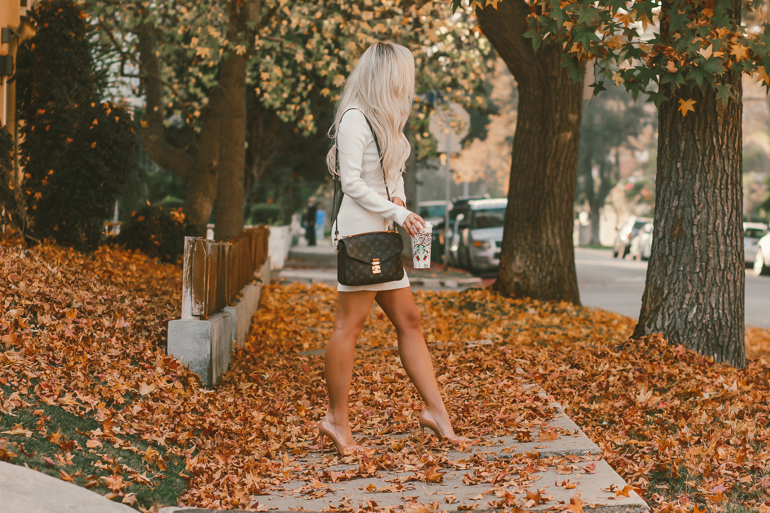 Blondie in the City | Cozy White Sweater Dress | Fall Fashion | Louis Vuitton | Fall Leaves | Louboutin's