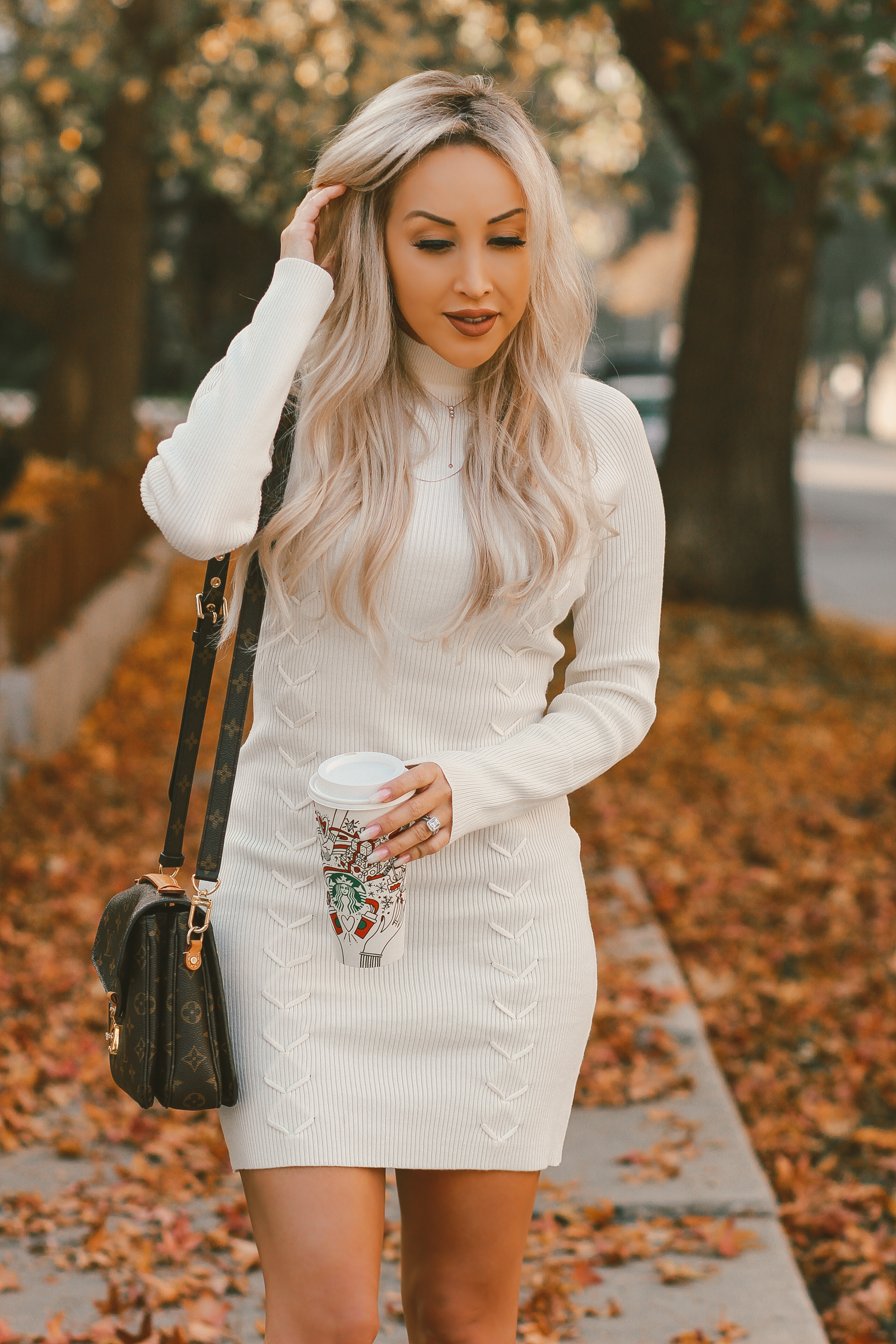 Cozy White Sweater Dress