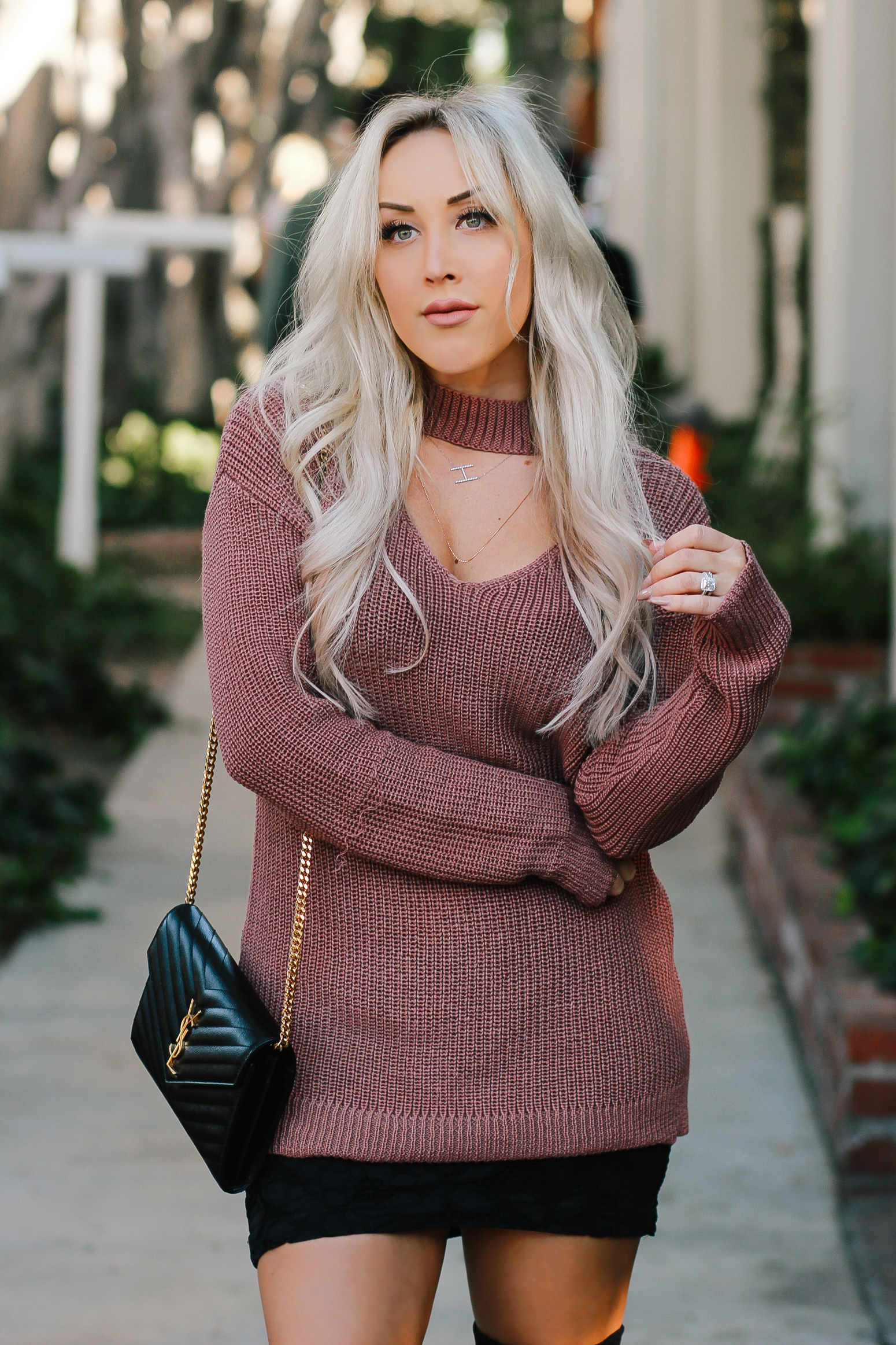 Blondie in the City | Mauce Sweater Dress, Black Lace Skirt, Thigh High Boots, YSL Bag | Fall Fashion