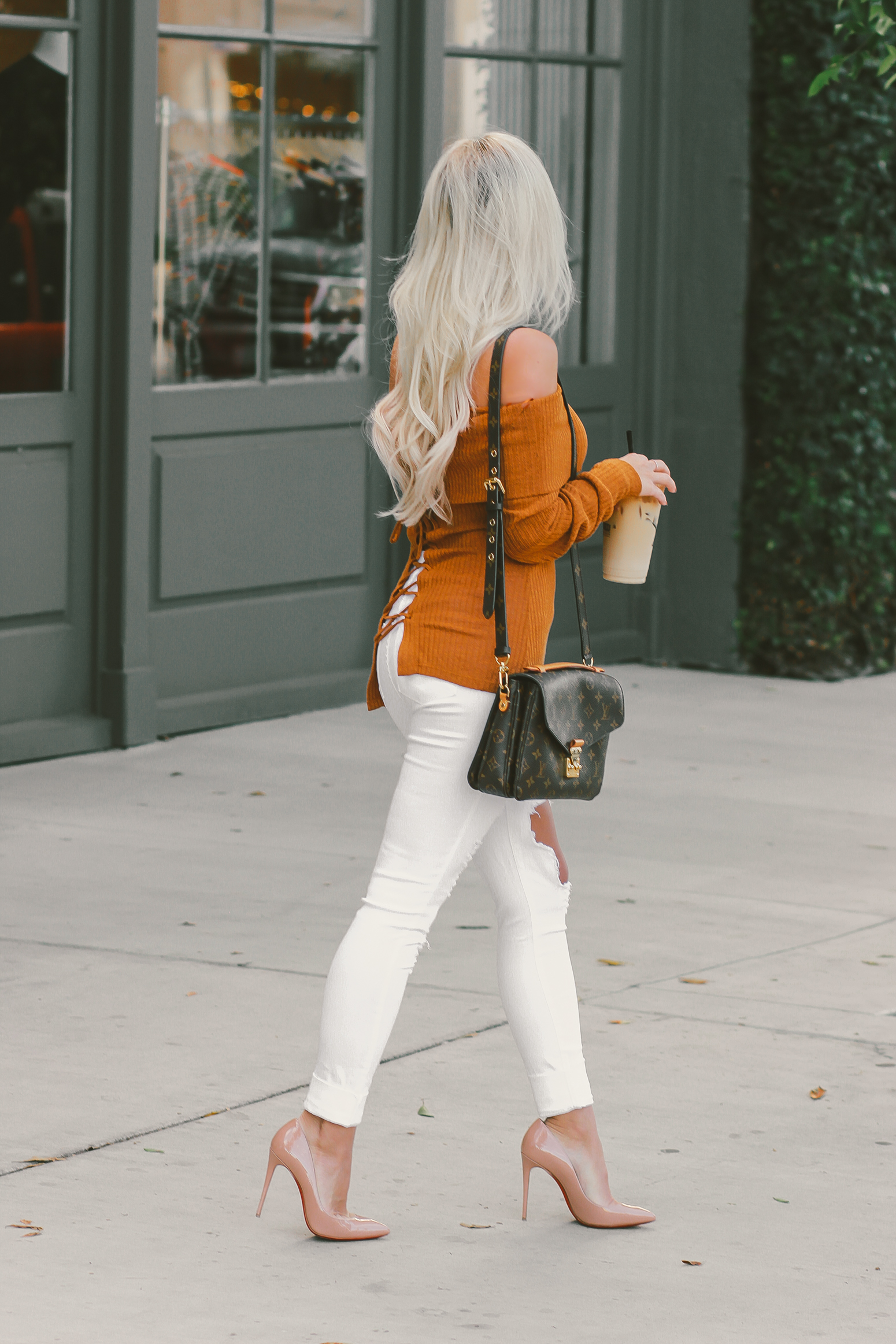 November Vibes | Off The Shoulder Sweater & White Distressed Denim @fashionnova | Blondie in the City