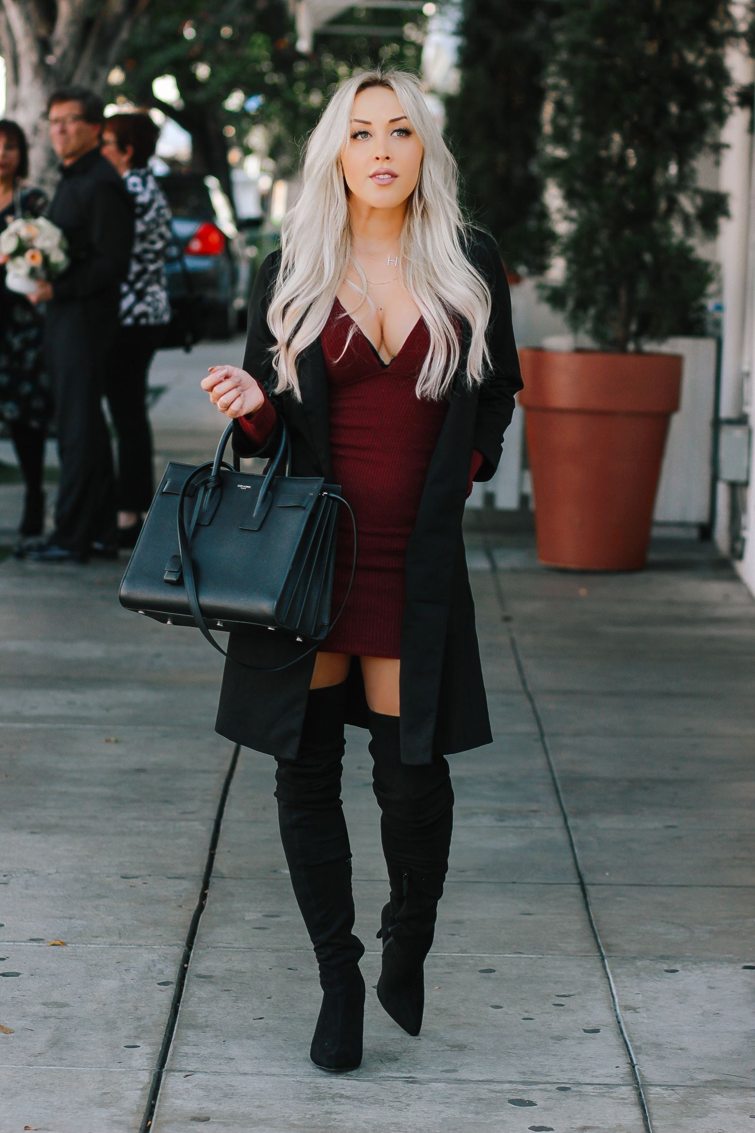 Blondie in the City | Burgundy Low Cut Dress | Thigh High Boots | Black YSL | Black Trench Coat