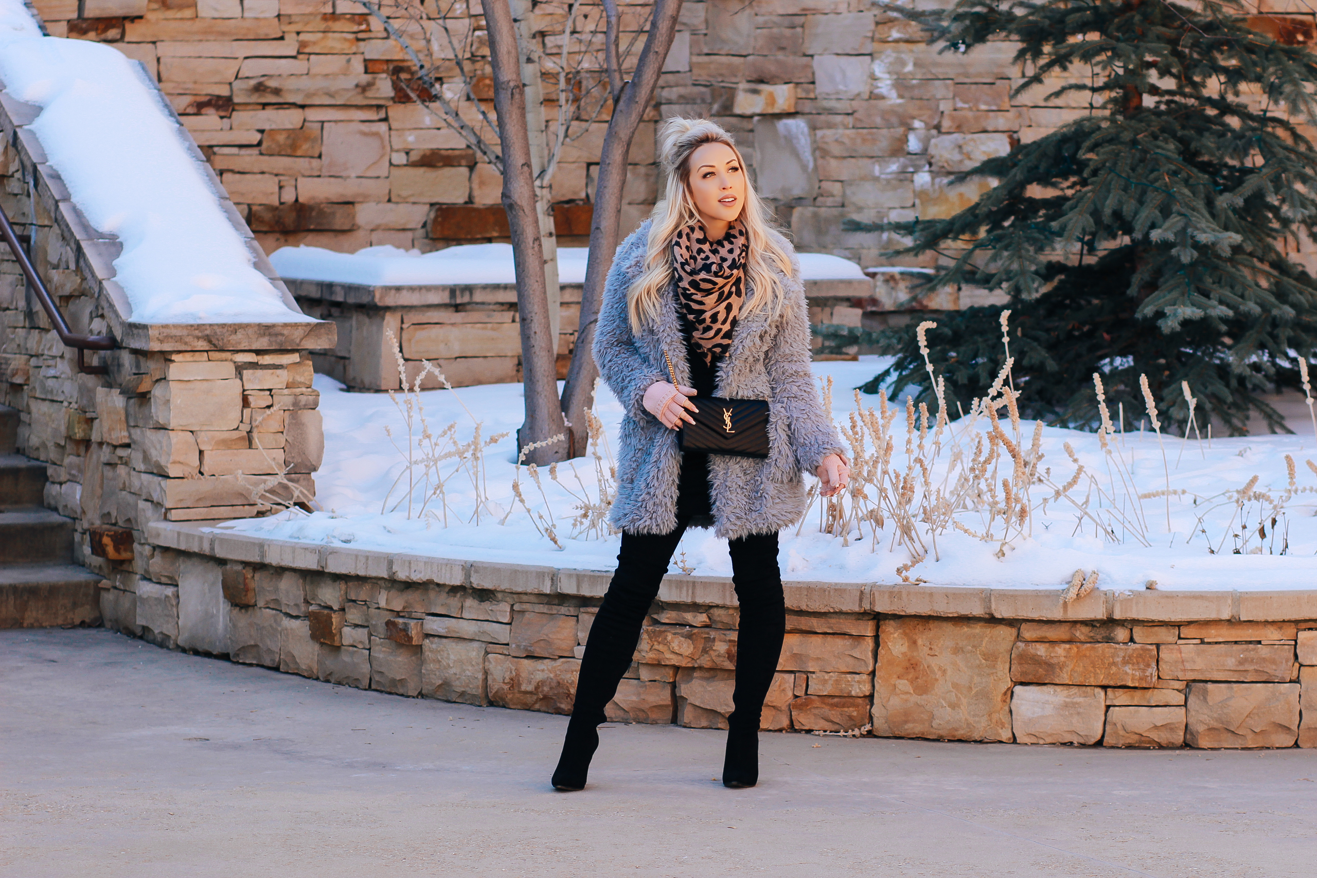 Blondie in the City | Blue Faux Fur Winter Coat, Leopard scarf, YSL Bag, Black Thigh High Boots | Winter Fashion