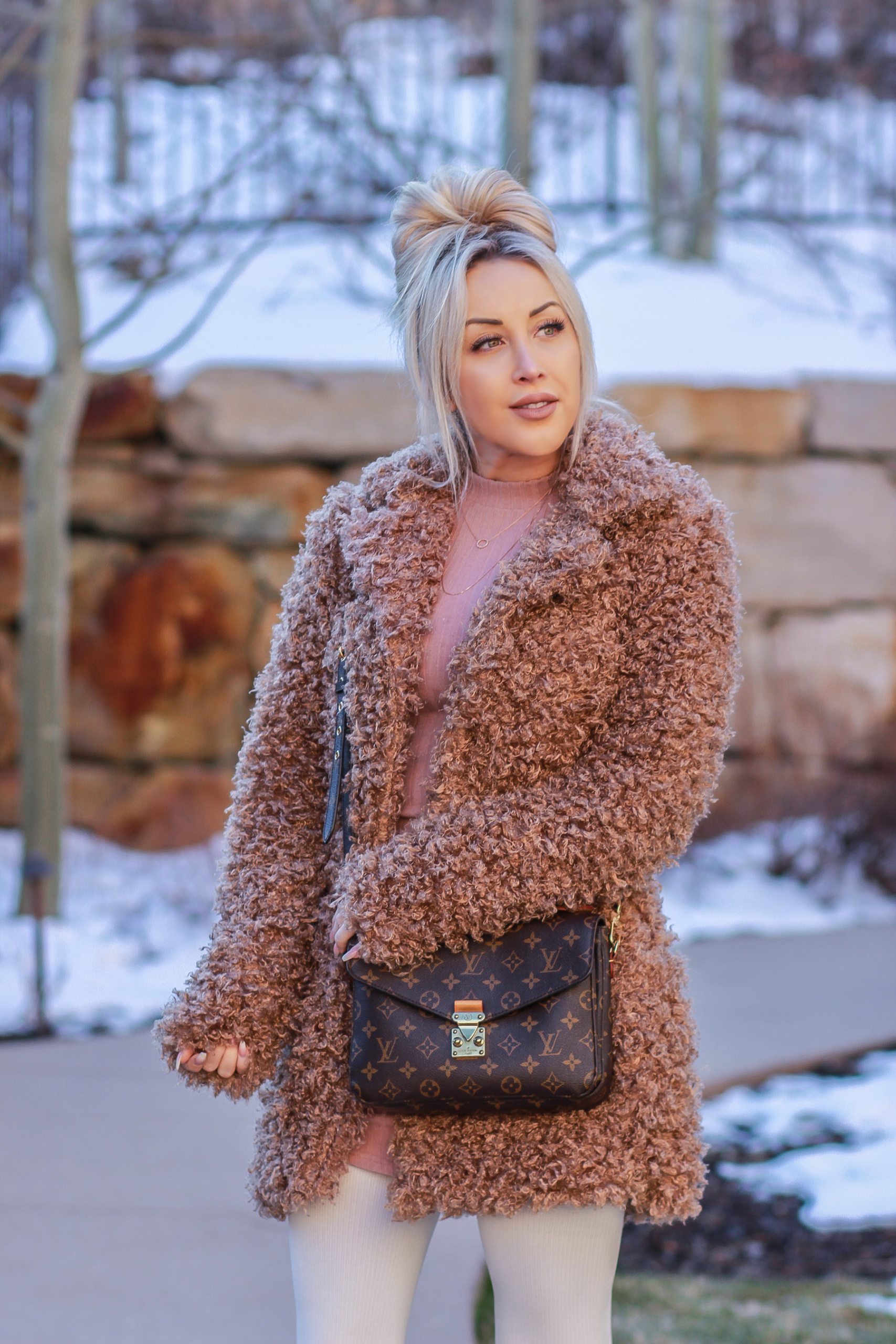 Blondie in the City | Winter Fashion, Faux Fur Coat | Louis Vuitton | Messy Bun