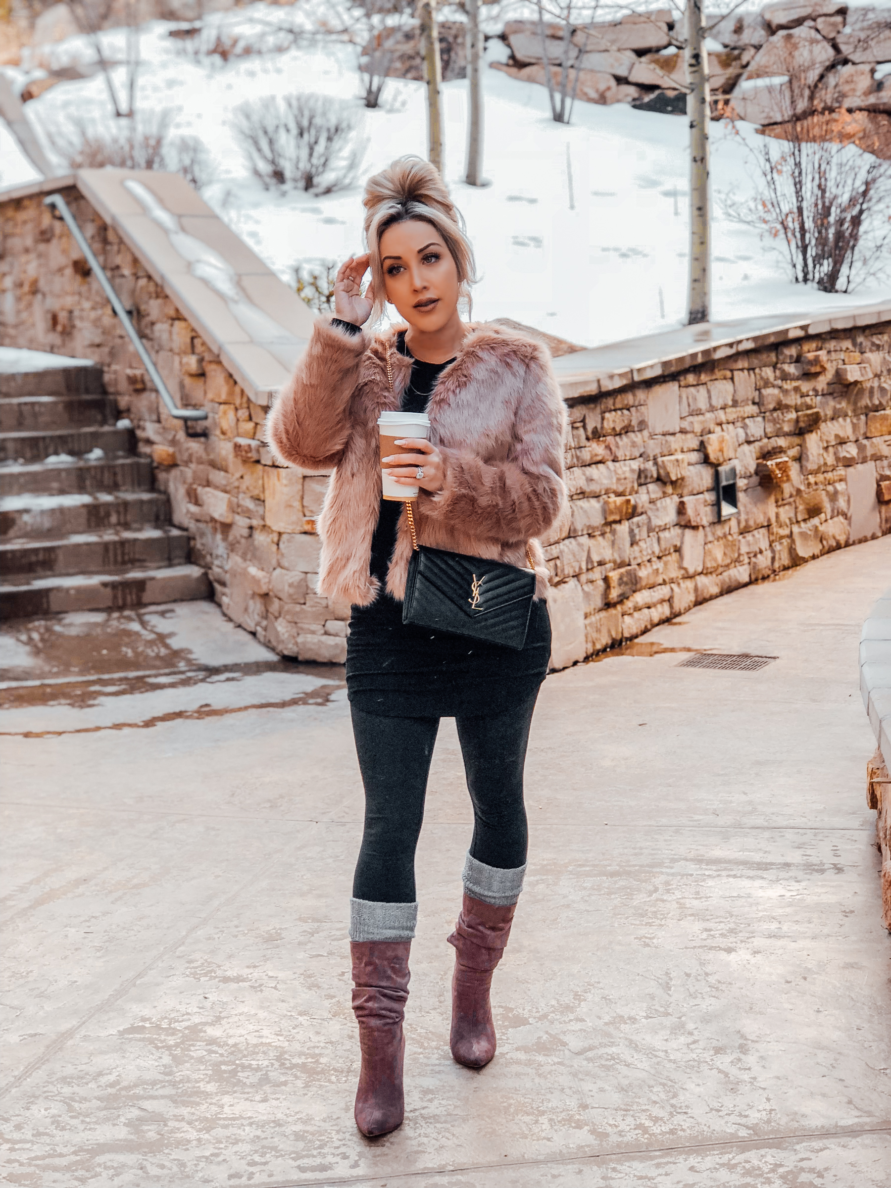 Blondie in the City | Pink Faux Fur Coat | Winter Fashion
