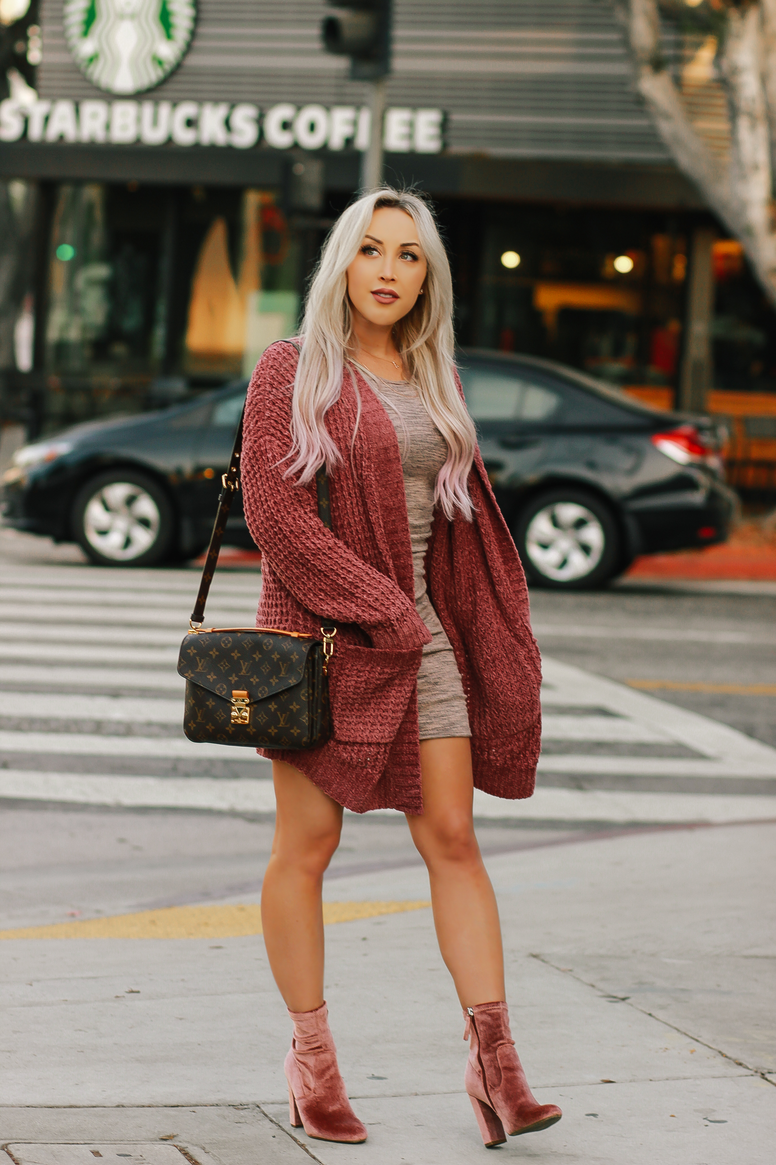 Blondie in the City | Fall Fashion | Cozy Cardigan, Pink Velvet Boots