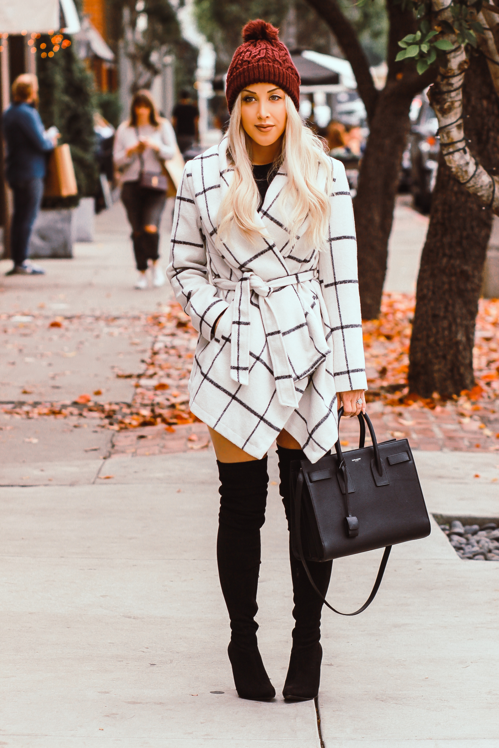 Winter Fashion, Black & White Grid Coat, Pom Beanie, Thigh High Boots, YSL Bag | Blondie in the City