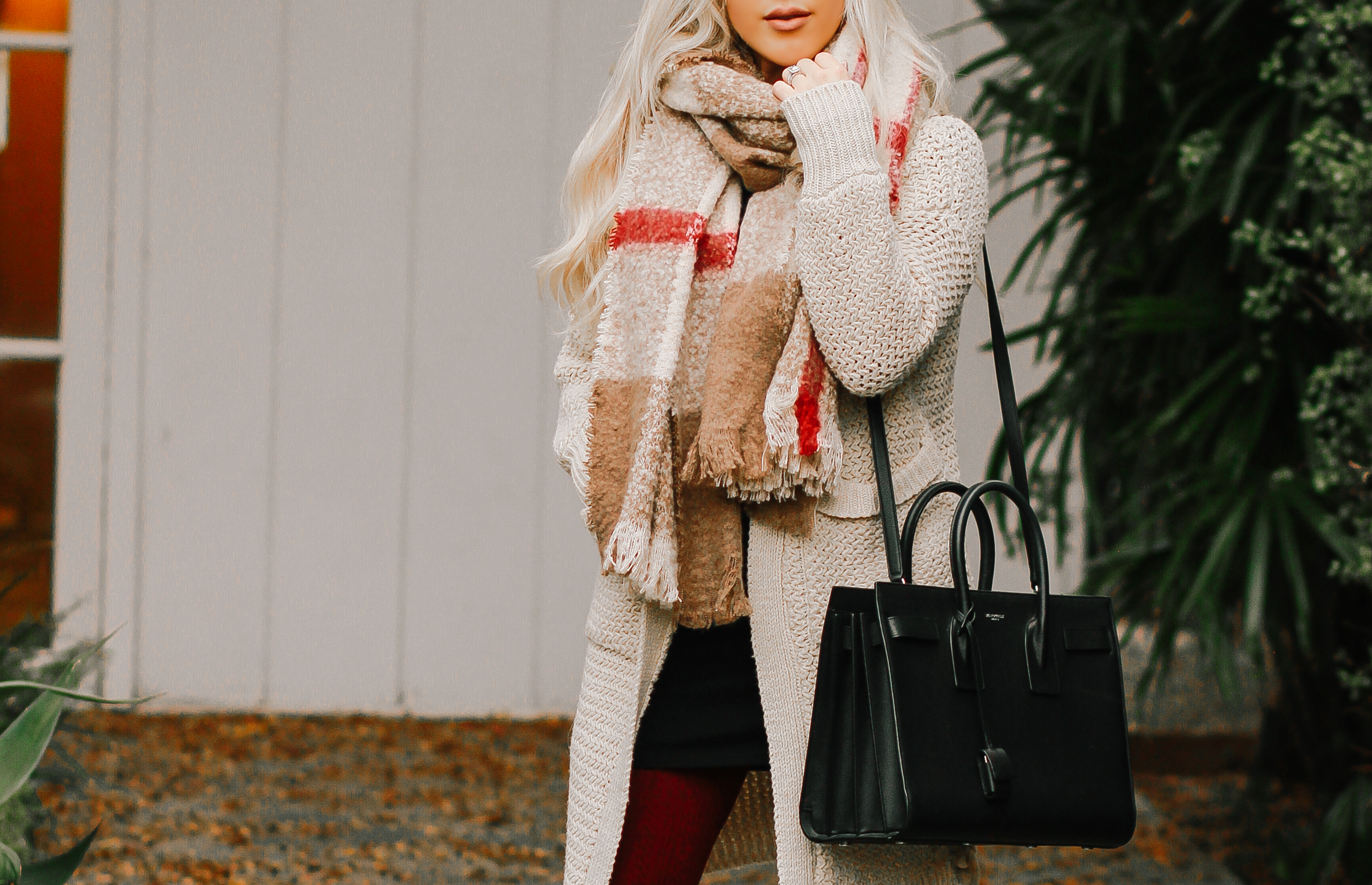 Plaid Scarf, Black YSL Bag, Winter Fashion | Blondie in the City