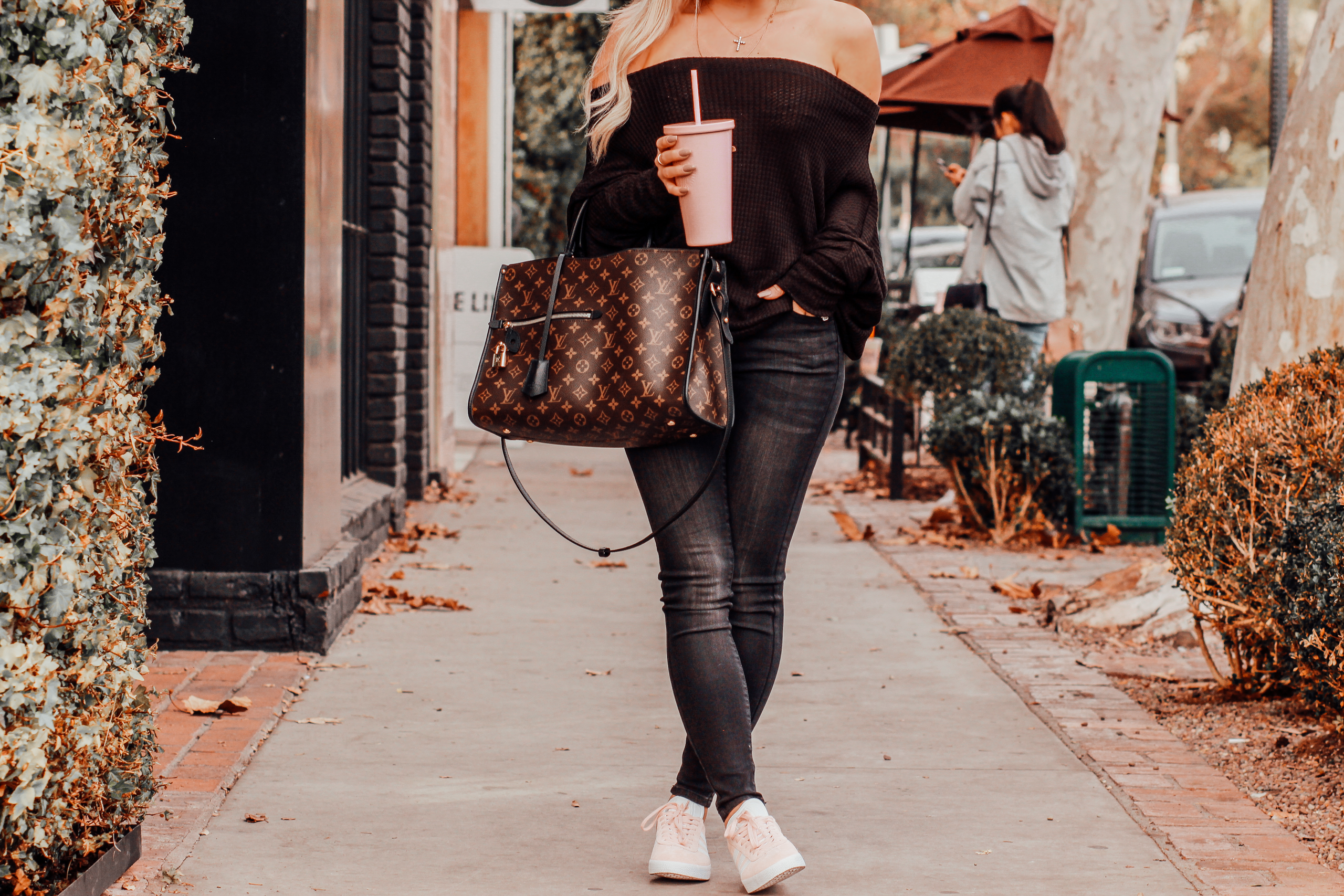 Black Off the Shoulder Sweater, Black Jeans, Pink Adidas, Louis Vuitton Popincourt | Blondie in the City