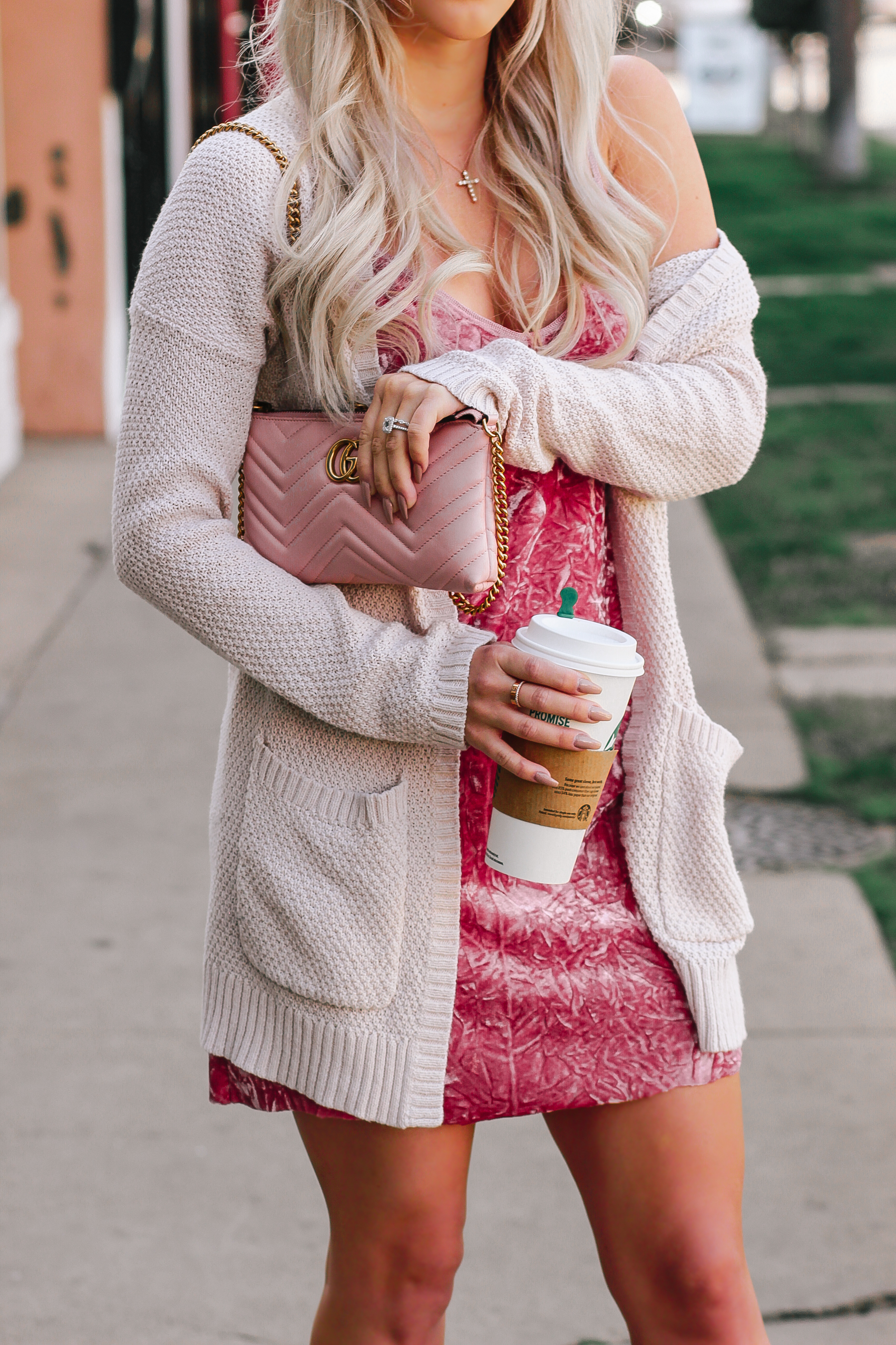 Pink Crushed Velvet Dress, Blush Pink Gucci Crossbody, Pink Louboutins | Valentine's Day inspired Outfit | Blondie in the City by Hayley Larue