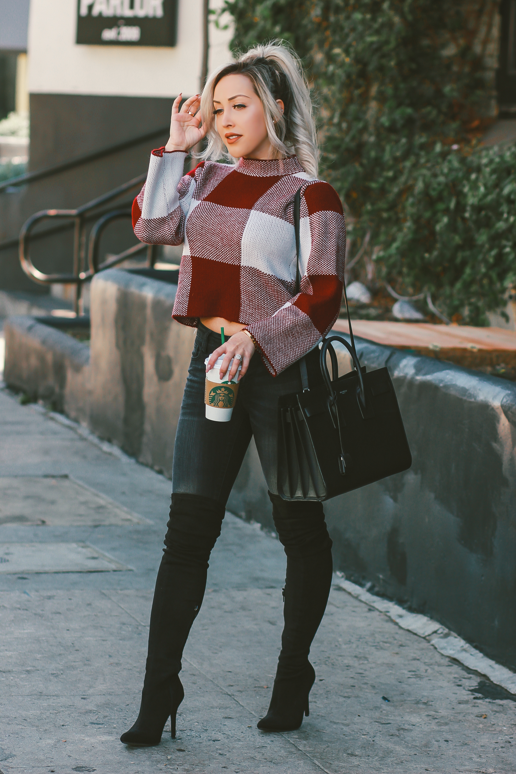 Gingham Cropped Sweater  Black Thigh High Boots, Black Saint Laurent Sac De Jour   Blondie in the City by Hayley Larue