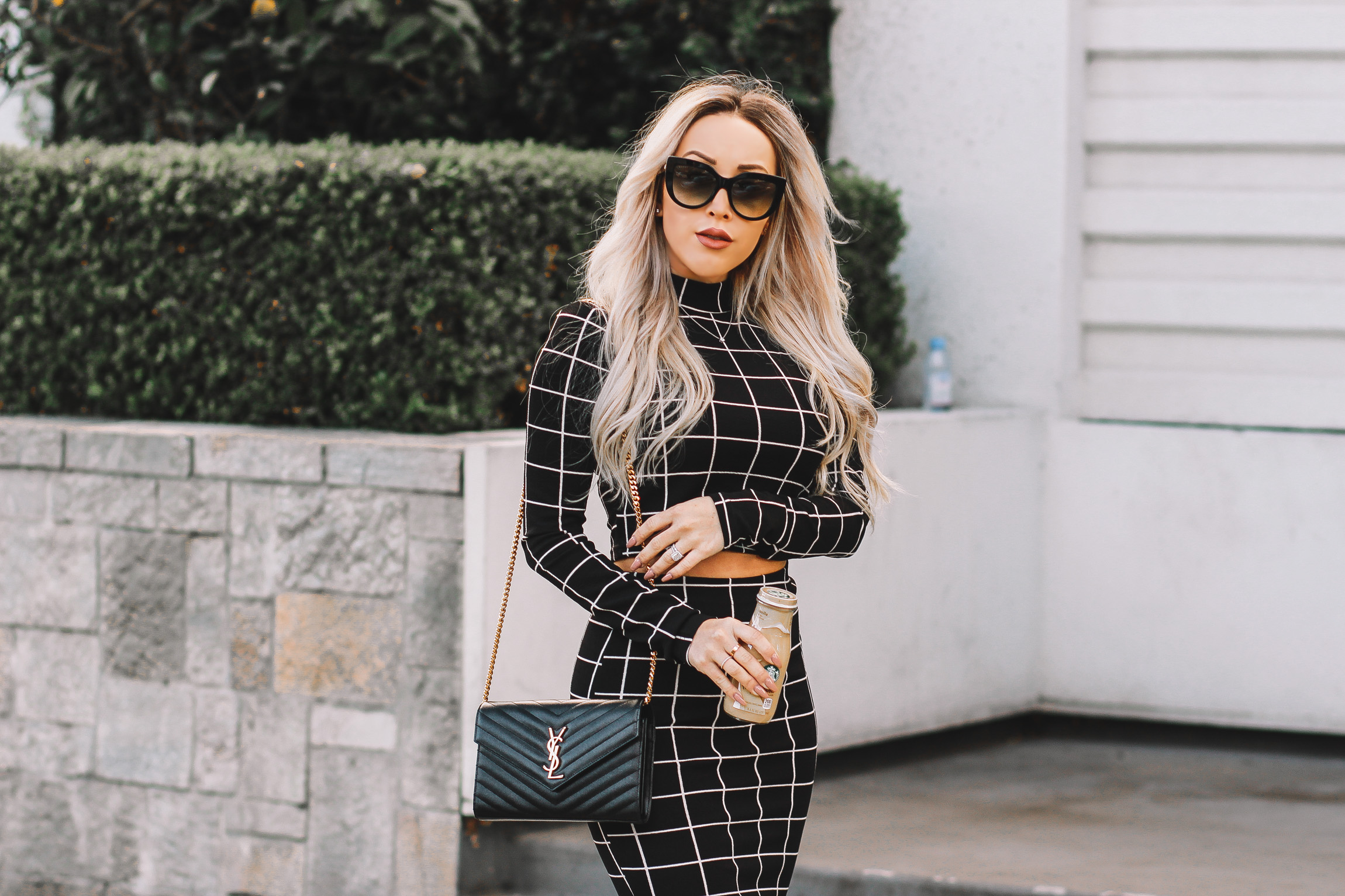 Grid Print Two Piece Business Style | Black YSL Bag | Nude Louboutins | Blondie in the City by Hayley Larue