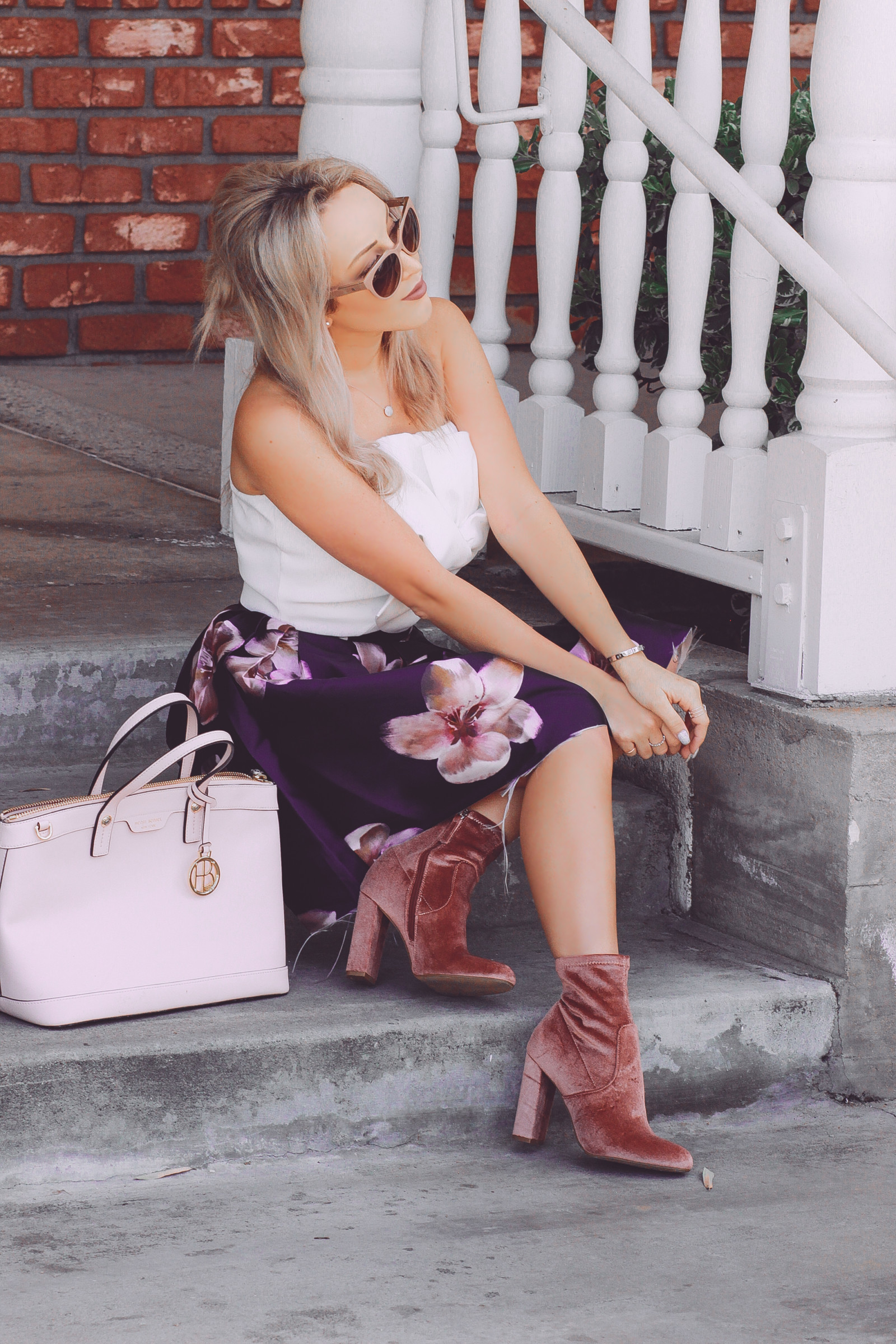 741aa8bbcbc0 Blondie in the City   Pink Velvet Steve Madden Boots   Floral Skirt    Balenciaga Sunglasses