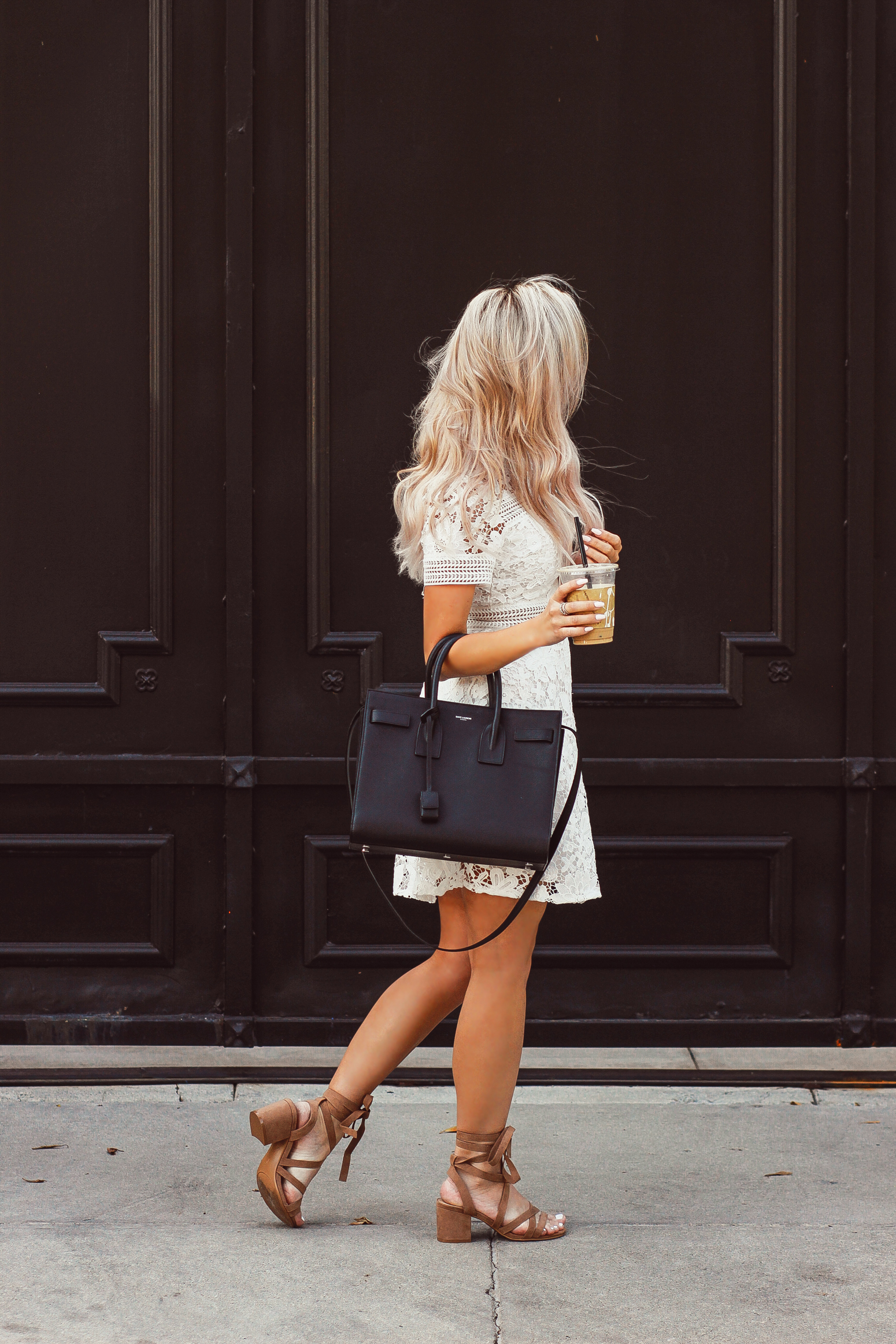 blondie in the city white lace bridal shower dress chiciwsh ysl bag