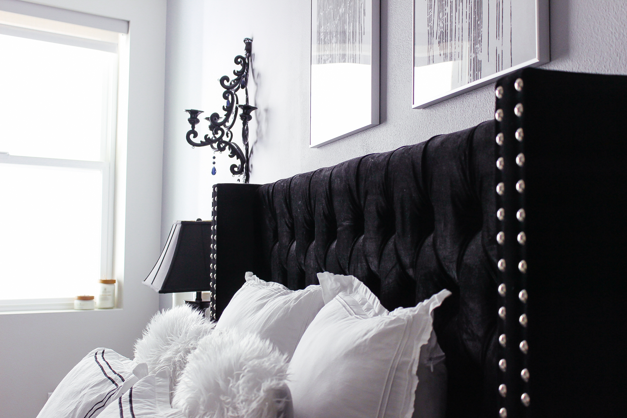 black white bedroom decor reveal 10847 | glam bedroom decor 13