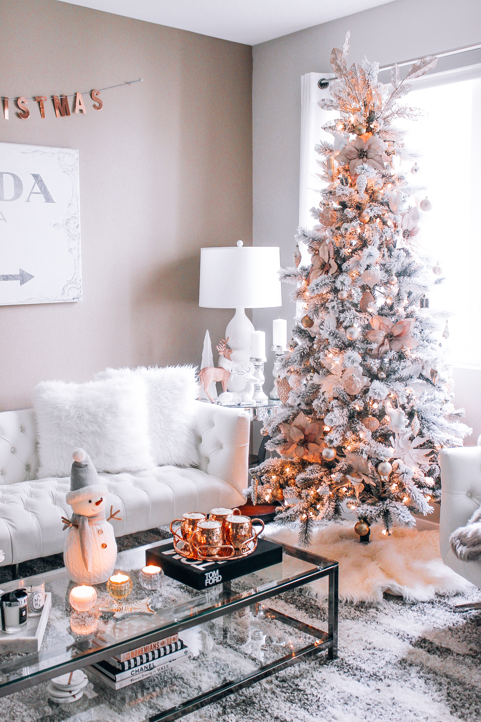 rose gold living room modern christmas decor blondie in the city pink rose gold hot blush pink gold white