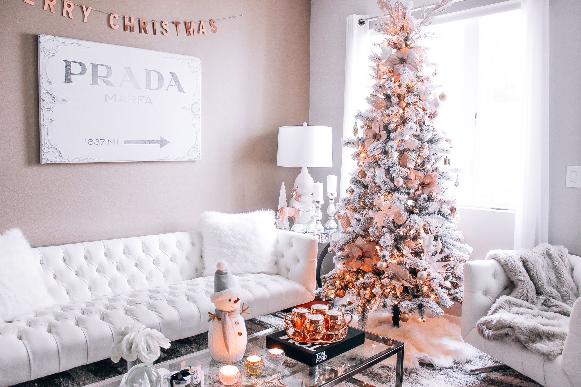 Blush Pink, Rose Gold, & White Christmas Decor