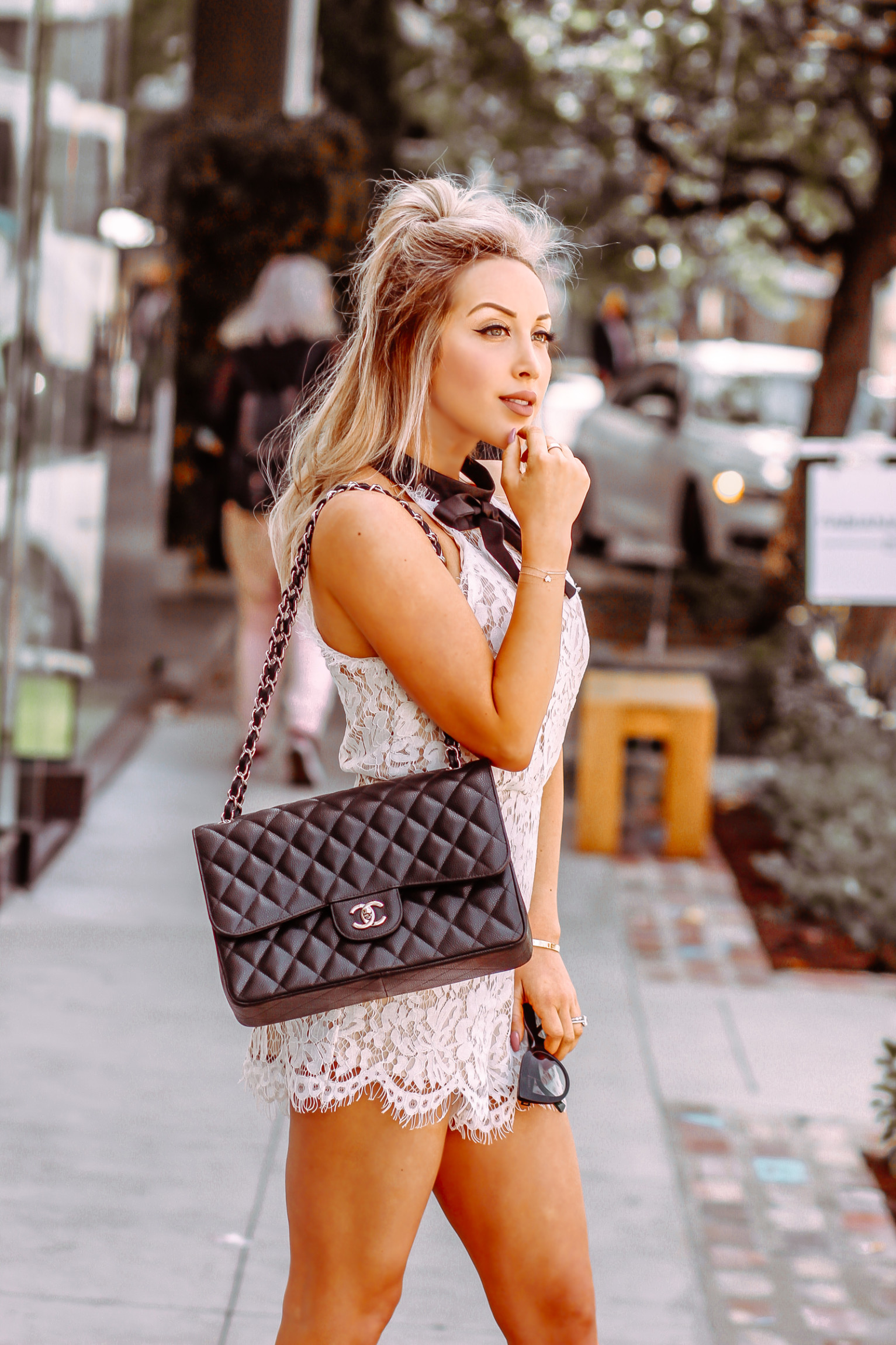 White Lace Romper - Bridal Shower Outfit Inspo - Blondie ...