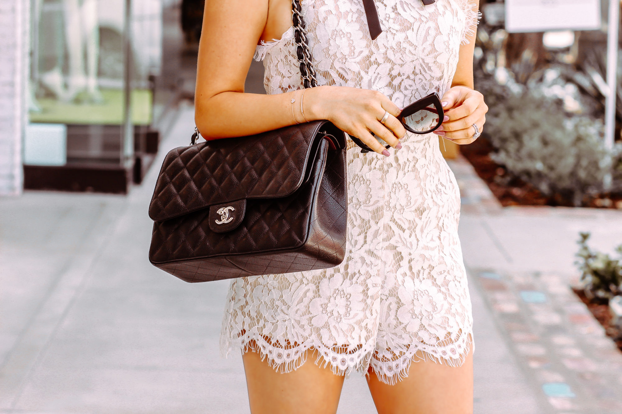 3c65a298b497 White Lace Romper - Bridal Shower Outfit Inspo - BLONDIE IN THE CITY